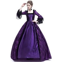 ecowalson Ball Gown Square Collar Lace Halloween Costumes Renaissance Medieval Dress