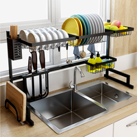 stainless steel with black coating kitchen organizer  dish drainer Freestanding dish rack over sink
