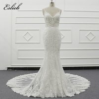 Eslieb spaghetti strap sexy  beach wedding dress sheer bodice lace appliques bridal gown  V neck robe marry  wedding dresses