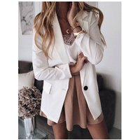 New Women Solid Slim Blazers Jackets Coat Office Lady OL Suit Pink Black White Business female blazer OEM