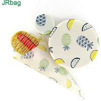 Eco-Friendly Printed Cotton Sheet Bee Wax Sandwich Wrap and Bowl Cover For Food Storage-3pcs per set
