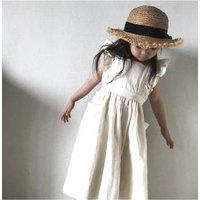 2019 Fashion Boutique Baby Linen Dress Children New Style sleeve;ess clothing dress