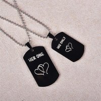 Black Military Army Style Pendant Necklace Set Her One and His Only Double Heart Boyfriend Girlfriend Couples Pendant Necklace