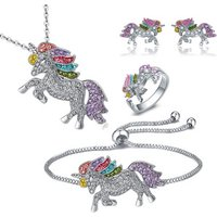4 Pack Unicorn Jewelry Set, Include Rainbow Rhinestone Crystal Necklace, Bracelet, Earring and Ring for Girls Gift Set