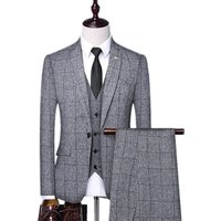 Grey Plaid Polyester Slim Fit Customized Latest Design Coat Pant Men Suit Men Suits