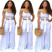 Women crop top and pants set wide leg bandage 2 piece pants set