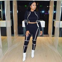 Mesh stitching sports suit polyester Elastic Fly Long Sleeve Mid Patchwork Skinny two-piece suit