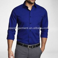 Mens Royal Blue Slim Fit Dress Shirt uniform shirt