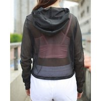 Women Active Mesh Hooded Top Sexy Workout Crop Top Fast Dry Long Sleeve Running Shirt Wholesale See Through Sports Yoga Hoodies