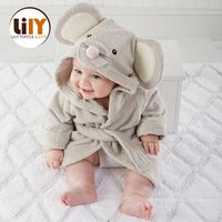 Wholesale soft body felling animal mouse baby bathrobe cotton bath towel robe for kids