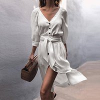 2019 spring autumn V-neck strap comfortable short dress ladies sexy linen dress