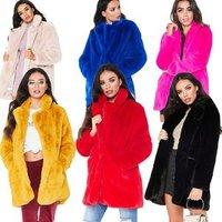 2019 Plush Coat Women Fur Coat Winter Warm Long Sleeve Female Jackets Overcoat Faux Fur Coat For Women