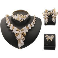 Bijoux Jewelry Brincos Mujer Beautiful Sapphire Zirconia Necklace Set for Wedding