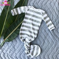 2019 Gender Neutral Baby Clothes Long Sleeve Sleeping Bag Knot Hospital Gown Heather Grey Stripes Knotted Infant Baby Gown