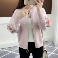 New arrival sleeve flower embroidery zip front women short sweater coat