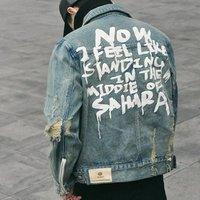 2018 Fashion Stock Denim Jacket For Men ,Denim Jean Jacket With Back Side Graffiti