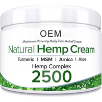 Private Label 2500 Mg  Natural Hemp Extract Pain Relief Cream Used for Relieves Muscle Joint Back Knee and Nerves Pains
