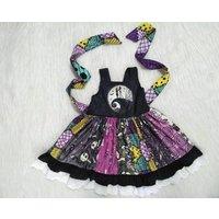 Yawoo baby little girls nightmare design twirl dress milk silk fabric lace ruffle ready to ship kids dresses