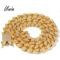 HipHop 20mm Cuban Link Chain Iced Out Cuban Crystal Miami Gold Chain Gold Silver Necklace Bracelet Set Cheap Necklace