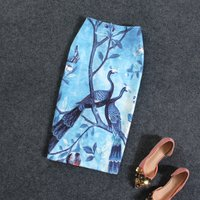 Vintage Casual Style Womens Skirts Peacock Animal Print High Waist Blue Pencil Skirt