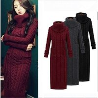 4 Color Fashion Autumn Winter womens wool dress thickening knit dress Casual Knitted Sweater Warm Coat