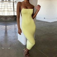 2019 explosion models summer new European and American sexy womens dress bodycon halter sling bag hip dresses Y11967
