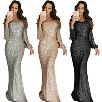 Wholesale Sexy Women Sequin Fringe Sleeve Party Maxi Elegant Evening Dress