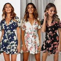 Summer women dresses chiffon short deep V-neck print dress
