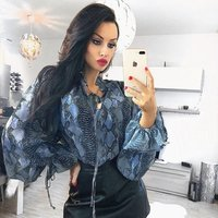 women snake print bow tie blouse animal pattern high street long sleeve shirts vintage casual tops Y10817