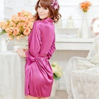 Sexy Temptation Lace Silk Sleepwear Nightdress Kimono Satin Robe