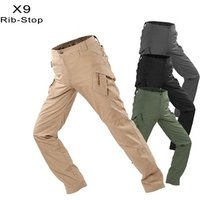 IX9 Mens Waterproof Rib Stop Military Tactical Pants  Army Fans Combat Hiking Hunting Multi Pockets Worker Cargo Pant Trousers