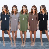 Amazon Hot sale Womens S-3XL Size Chiffon Gypsy Ladies Tunic Long V Neck Dress Apparel