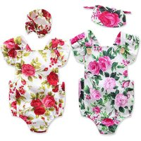 Summer childrens clothing green flowers girls baby jumpsuit romper with headgear