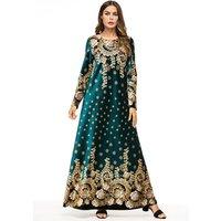 Spring Muslim Long Sleeves Velvet Dresses Dubai Dress Maxi Abaya Jalabiya Islamic Women Clothing