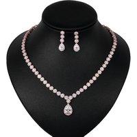 Hot Sale Teardrop and Flower Cubic Zirconia CZ Crystal Wedding  Boho Necklace Set