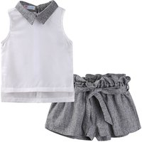 Mudkingdom little girl baby clothes fashion chiffon sleeveless white vest with lapel and loose grey shorts clothing kids set