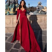 Sexy off shoulder long sleeve high spit front satin evening party gown prom dress 2019