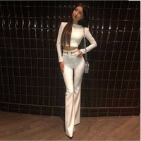 2019 new white rayon two piece bandage set long sleeve top and pant high quality suit wholesale  C1833