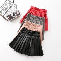 2019 Autumn Vintage  Kid Girl Pleated Skirt Children Girl Solid Pu Leather Pleated Skirt Short School Girl Skirt for 4-8T