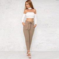 Women OL high waist harem pants bow tie drawstring sweet elastic waist pockets casual trousers pantalones 8 color Y10920