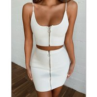 FS1263B women 2 piece outfit women white clothing Zipper wrap hip skirt set