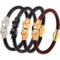 Gold Silver Plated Alloy Skull Head Charm Braided Leather Womens Mens Bracelet with magnetic clasp