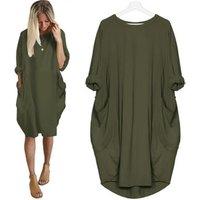 Wholesale Plus Size Women Dresses 5XL Long Sleeve Loose Plain Tunic Shirt Dress