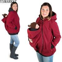 Maternity Warm Wool Hoodie Kangaroo Sweatshirts with Baby Carriers Pregnant Women Winter Zipper Coat Jacket Thicken Fleece Hoody