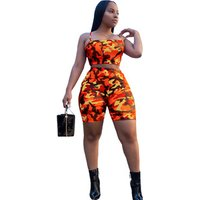 Camouflage Print Casual Two Piece Set Crop Top And Pants Summer Short Tracksuit Women Sexy Bodycon Romper Y11101