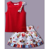 Hot Sales Girls Summer Flower Suit Red Vest Top Drecorated With Flower Bow And Cute Printed Skirt Kids Stylish Baby Clothes Set