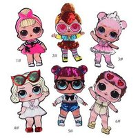 'Hot Latest Cloth Accessories 20cm Big Sequin Cartoon Girl Doll Patch