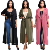 3 colors western style bandage casual dress autumn coat women clothing