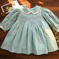 princess smocked dress long sleeve peter pan collar children clothes wholesale baby frock autumn ready made
