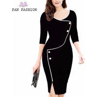 Hot sale elegant 3/4 Sleeve work office lady career dress wrap pencil midi dresses
